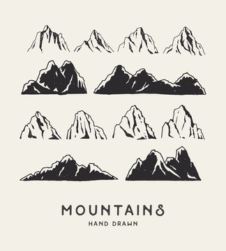 Hand Drawn mountains. Set of travel sketch illustration. Adventures logos isolated on light background. Vector illustration.