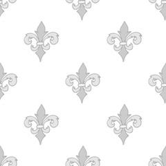 Gray seamless pattern with gray hand drawn doodle royal floral ornament on white. French fleur-de-lis  element. Flourish damask infinity background. Vector illustration.