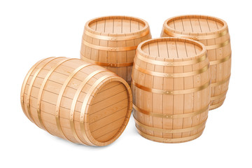 Wooden barrels, 3D rendering