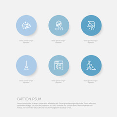 Set Of 6 Editable Hygiene Outline Icons. Includes Symbols Such As Laundromat, Housekeeper, Dust And More. Can Be Used For Web, Mobile, UI And Infographic Design.