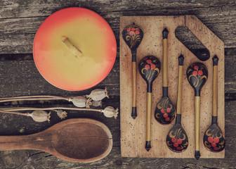 Still life of kitchen wooden utensils
