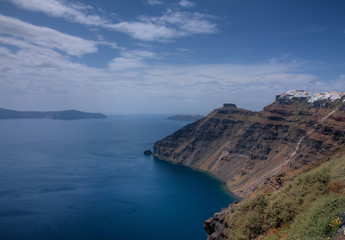 A High Vantage Point View, Along the Coast of the Island of Santorini, Grerece