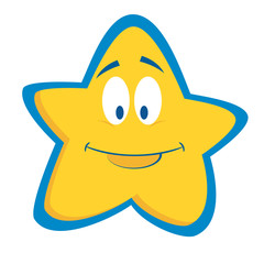 cartoon smiling star emoji vector image