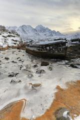 Shipwreck-abandoned wooden boat at Sildpolltjonna. Sildpollnes-Austnesfjorden-Austvagoya-Lofoten islands-Norway. 0140