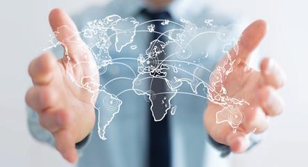 Businessman holding world connection sketch