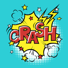 CRASH! phrase in speech bubble. Comic text. Vector bubble icon speech phrase. Comics book balloon. Halftone background.