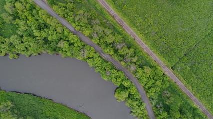 北海道 釧路湿原 湿原 線路 丹頂鶴 鹿 自然保護区 川 道路 夏 7月 8月 カーブ カヌー 空撮 国立公園 旅行 自然  広大な 北海道らしい 上空から 鳥の目 ノロッコ号