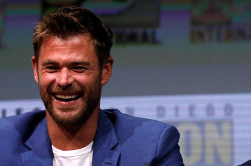 "Cast member Hemsworth at a panel for ""Thor: Ragnarok"" during the 2017 Comic-Con International Convention in San Diego"