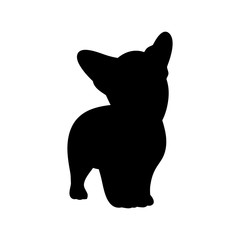 The silhouette of the dog breed Corgi on white background, vector