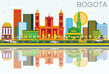Bogota Colombia Skyline with Color Buildings, Blue Sky and Reflections.