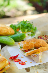 Banh Mi Cha Ca - A kind of Vietnamese sandwich with grilled fish and fresh vegetables. It's really popular in the central of Vietnam