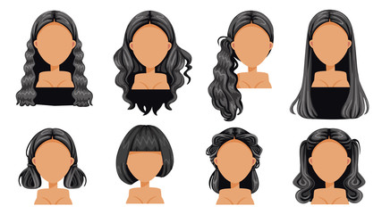 Black hair Beautiful  hairstyle Black hair woman set. modern fashion for assortment. long hair, short hair, fringe. curly hair salon hairstyles and trendy haircut vector icon set isolated