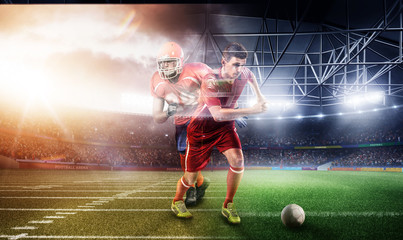 Soccer vs Football on 3d sport arena. multi sports run players collage. mature players with ball