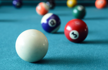 Balls on pool table