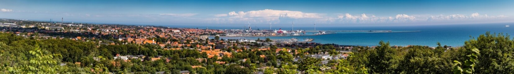 Panorama of Frederikshavn in Denmark 2017. Shot at Pikkerbakken hiking spot. Stitch of more than 5 shots.