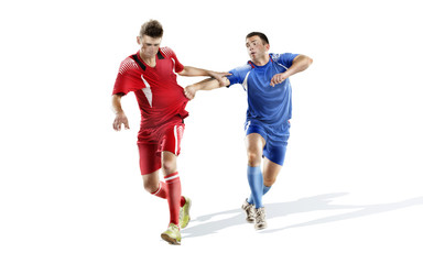 Soccer action isolated on white. two mature players fighting without ball