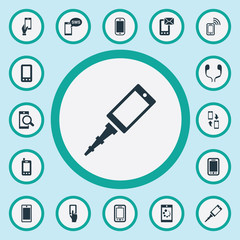 Vector Illustration Set Of Simple Smartphone Icons. Elements Ring Up, Smartphone, Missive And Other Synonyms Connection, Camera And Envelope.