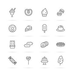 dessert vector line icons