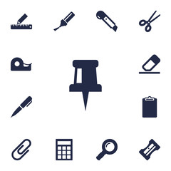 Set Of 13 Instruments Icons Set.Collection Of Information, Ink, Pencil And Other Elements.