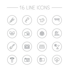 Set Of 16 Cocktail Outline Icons Set.Collection Of Jester, Bow, Alcohol And Other Elements.