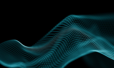 Fotobehang Fractal waves Abstract Blue Geometrical Background . Futuristic technology style. Neon Sign . Futuristic Technology HUD Element . Elegant Abstract background . Big data visualization .