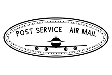 Post service air mail stamp with airplane black icon