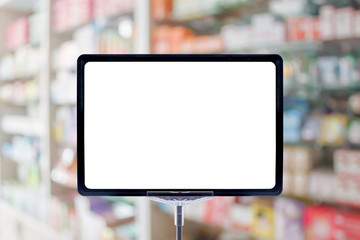 Blank price board sign display in Pharmacy blur background with medicine on shelves