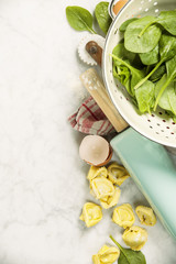 Top view on homemade pasta ravioli