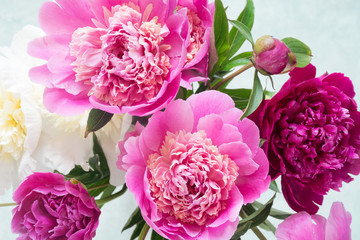 Peonies. Beautiful bouquet of pink white and purple peonies in vase on bright background. Closeup shot selective focus. Wedding bouquet, Happy Mothers day gift, women's day gift, Greetings card
