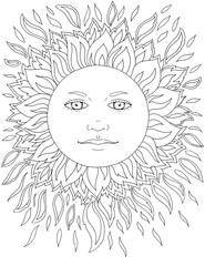 Face of the sun, rays, sunny, tattoo, graphics