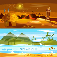 New Zealand banners. Tradition and culture New Zealand. Mountains and beach landscape, natives. Village of aboriginals Maori