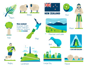 New zealand, Signs and symbols, Vector infographic elements.