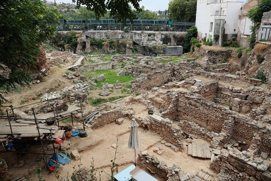 archeological excavation dig site near the city center in Athens, Greece
