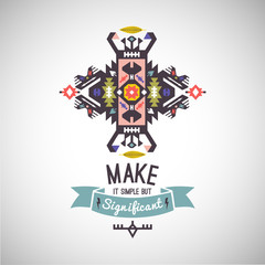 Colorful tribal Navajo style vector ornamental geometric logo set