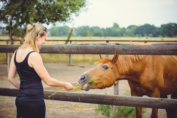Woman with blonde hair and black dress and with horses on a farm, pets animals in village in a rancho. Horses are human friends