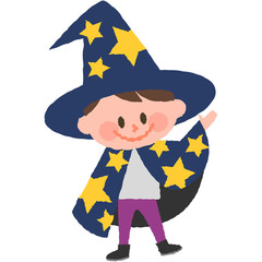 a vector illustration of a boy wearing halloween costumes