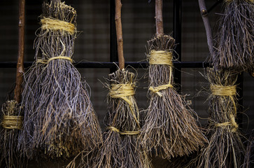 Detail of brooms for witches at halloween
