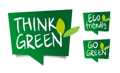 Think green, eco-friendly and go green speech balloons