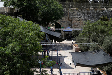 A newly installed security camera is seen at an entrance to the compound known to Muslims as Noble Sanctuary and to Jews as Temple Mount in Jerusalem's Old City