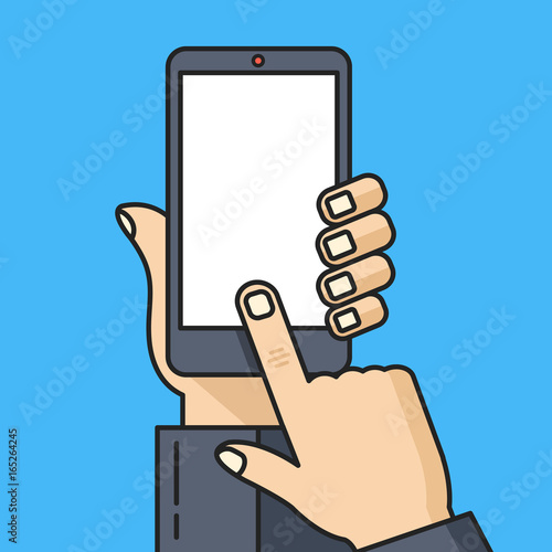 smartphone with blank white screen human hand holding smartphone