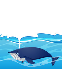 Background design with whale splashing water