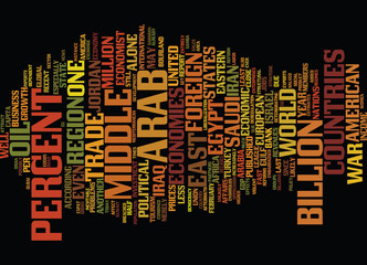 THE ECONOMIES OF THE MIDDLE EAST Text Background Word Cloud Concept
