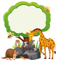 Border template with wild animals under the tree