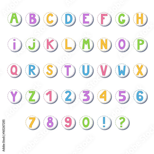 Cartoon Colored Alphabet Letters And Numbers In Circles Stock