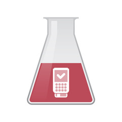 Isolated chemical flask with  a dataphone icon