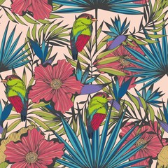 Tropical birds and plants. Vector seamless hand made pattern