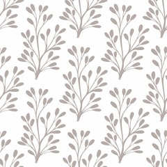 Vector seamless pattern with small stylized plants for design