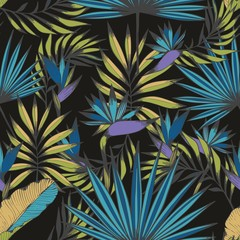 Night tropics. Vector seamless handmade pattern for design
