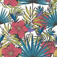 Tropics. Vector seamless hand drawn pattern for design and decoration
