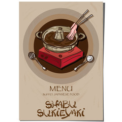 menu sukiyaki shabu Japanese food restaurant template design hand drawing graphic.